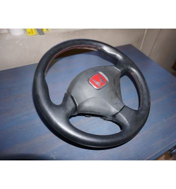 JDM HONDA INTEGRA DC5 MOMO RED STITCH BLACK LEATHER STEERING WHEEL TYPE R
